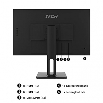 MSI PRO MP271QPDE 69cm (27 Zoll) IPS LED Monitor (16:9, WQHD (2560x1440), HDMI, DisplayPort, Verstellbar, Anti-Glare Display, Weniger Blaulicht, Rahmenlos) - 2