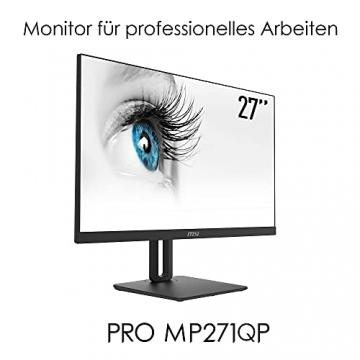 MSI PRO MP271QPDE 69cm (27 Zoll) IPS LED Monitor (16:9, WQHD (2560x1440), HDMI, DisplayPort, Verstellbar, Anti-Glare Display, Weniger Blaulicht, Rahmenlos) - 3